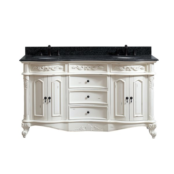Avanity Provence 61-in Double Sink White Bathroom Vanity with Granite Top