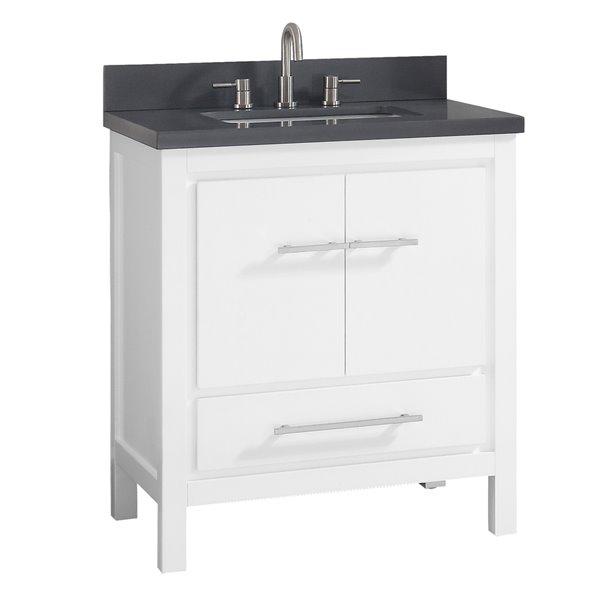Azzuri Riley 31-in Single Sink White Bathroom Vanity with Quartz Top