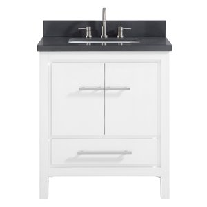Azzuri Riley 31-in Single Sink White Bathroom Vanity with Quartz Top