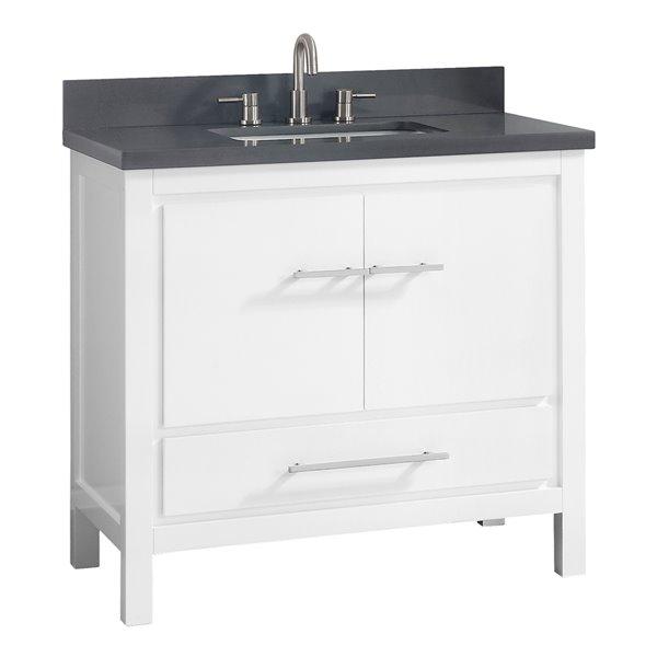 Azzuri Riley 37-in Single Sink White Bathroom Vanity with Quartz Top