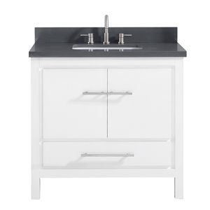 Riley 37-in Single Sink White Bathroom Vanity with Quartz Top