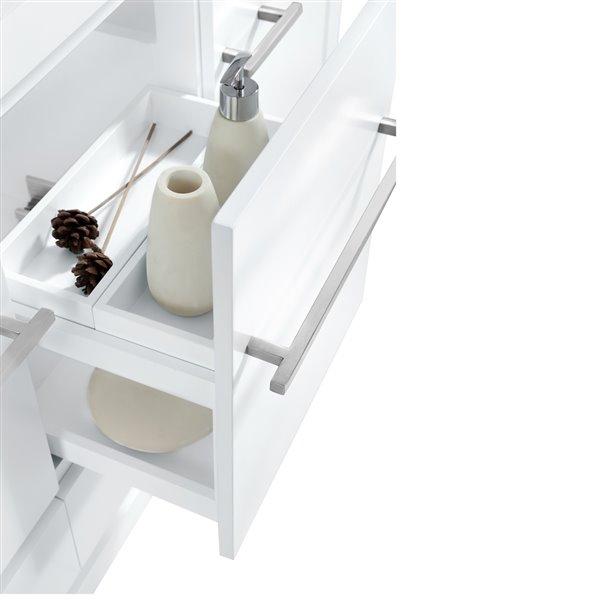 "Vanité Azzuri de Avanity, comptoir en quartz, 43"", blanc"