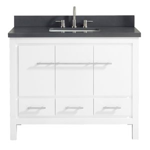 Riley 43-in Single Sink White Bathroom Vanity with Quartz Top