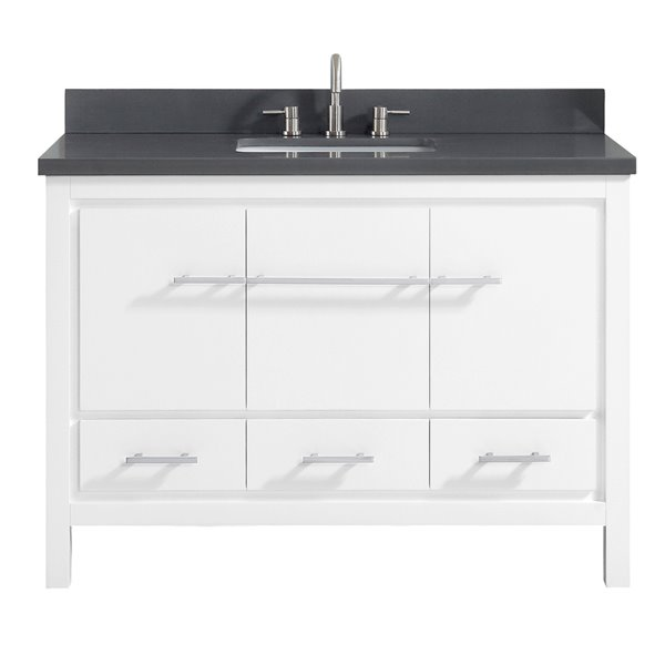 Azzuri Riley 49-in Single Sink White Bathroom Vanity with Quartz Top