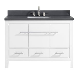 Riley 49-in Single Sink White Bathroom Vanity with Quartz Top