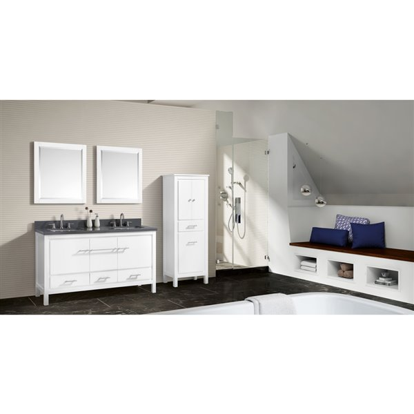 Azzuri Riley 61 In Double Sink White Bathroom Vanity With Quartz Top Riley Vs61 Wt Rona