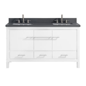 Riley 61-in Double Sink White Bathroom Vanity with Quartz Top