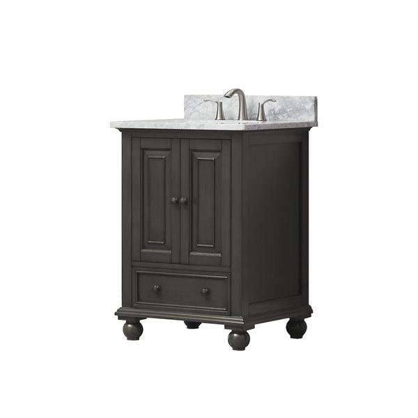 Avanity Thompson 25-in Single Sink Charcoal Bathroom Vanity with Marble Top