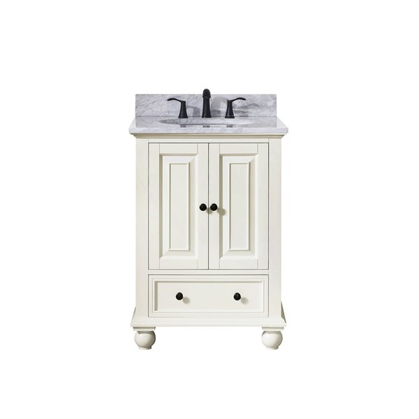 Avanity Thompson 25-in Single Sink French White Bathroom Vanity with Marble Top