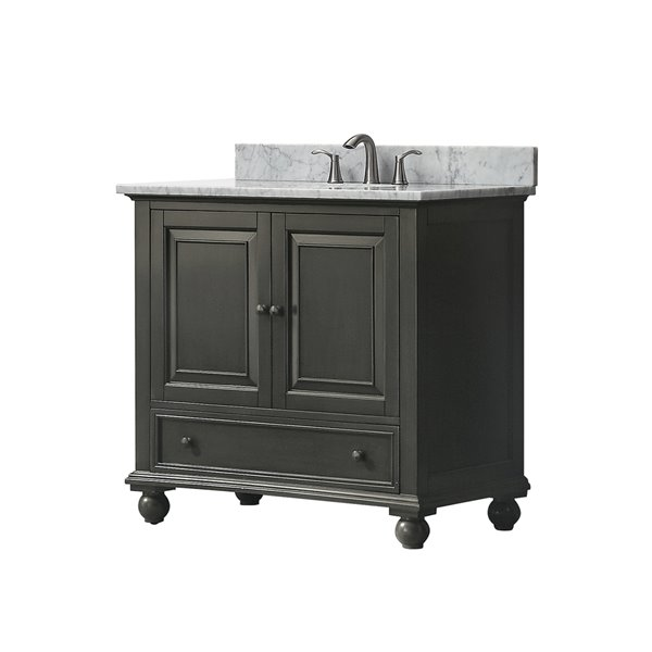 Thompson 37-in Single Sink Charcoal Bathroom Vanity with Marble Top