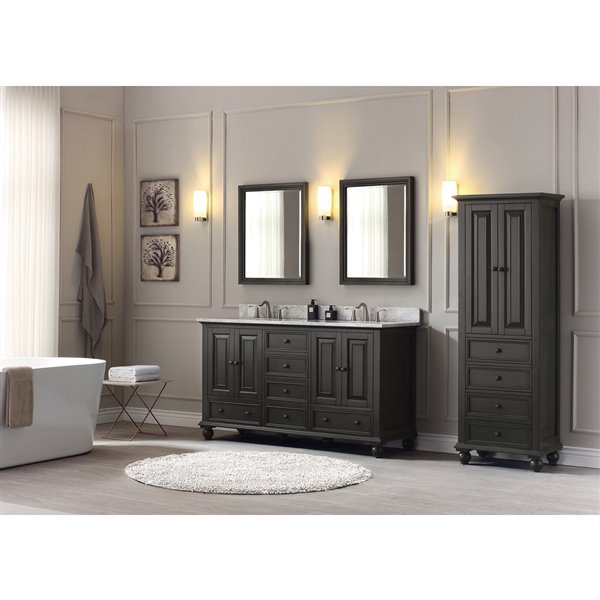 Thompson 61-in Double Sink Charcoal Bathroom Vanity with Marble Top
