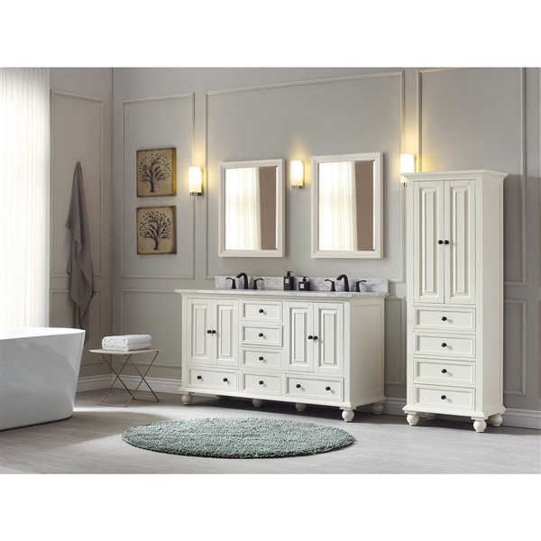 Thompson 61-in Double Sink French White Bathroom Vanity with Marble Top