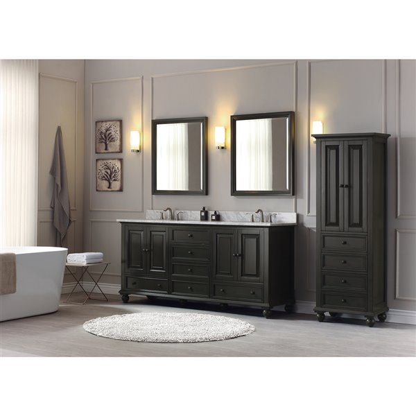 Avanity Thompson 73-in Double Sink Charcoal Bathroom Vanity with Marble Top