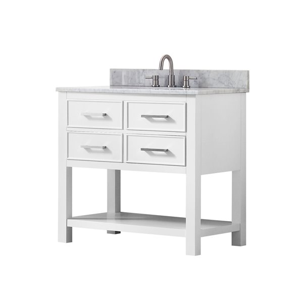Avanity Brooks 37-in White With Sink Marble Top Vanity