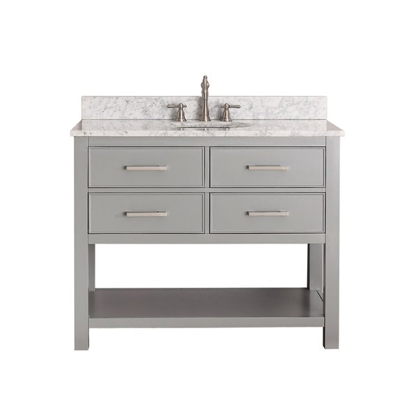 Brooks 43-in Gray With Sink Marble Top Vanity