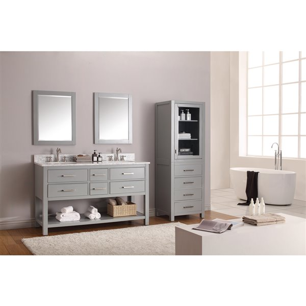 Avanity Brooks 61-in Gray Double Sink Marble Top Vanity