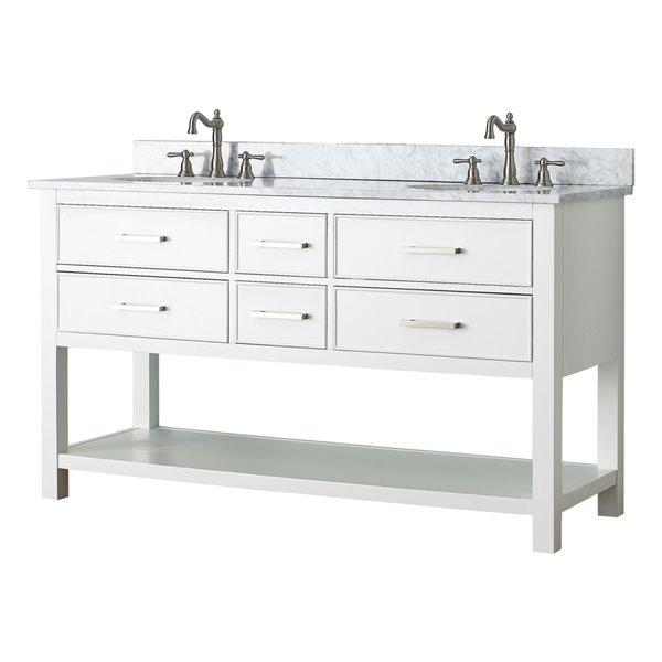 Avanity Brooks 61-in White Double Sink Marble Top Vanity