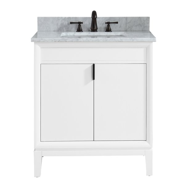 Emma 31-in White With Sink Marble Top Vanity