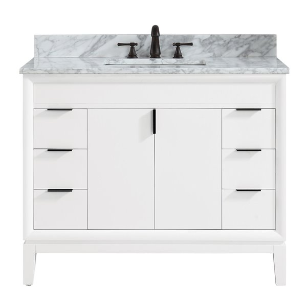 White Single Sink Bathroom Vanity With, White Bathroom Vanity With Carrera Marble Top