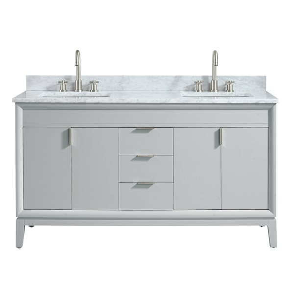 Avanity Emma 61-in Gray Double Sink Marble Top Vanity