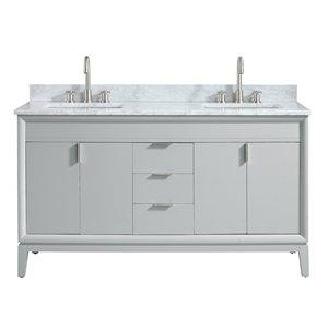 Emma 61-in Gray Double Sink Marble Top Vanity