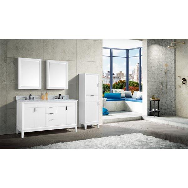 Avanity Emma 61-in White Double Sink Marble Top Vanity