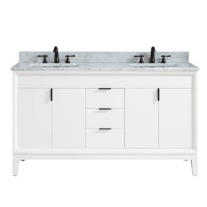 Emma 61-in White Double Sink Marble Top Vanity