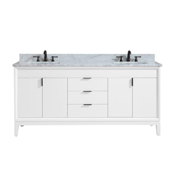 Avanity Emma 73-in White Double Sink Marble Top Vanity