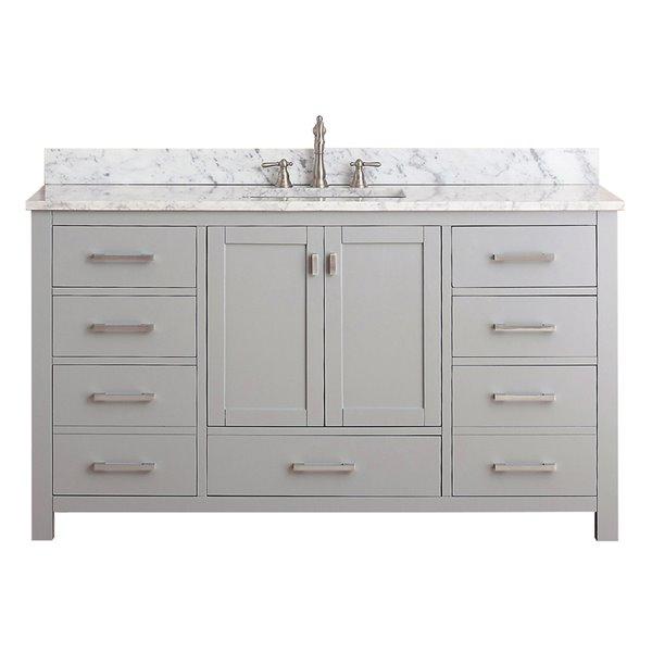 Avanity Modero 61-in Single Sink Gray Bathroom Vanity with Marble Top