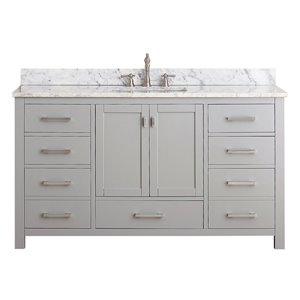 Modero 61-in Single Sink Gray Bathroom Vanity with Marble Top