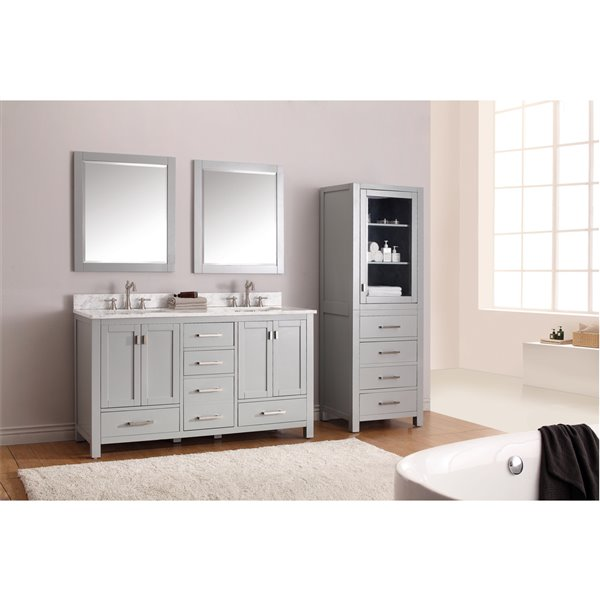 Avanity Modero 61-in Double Sink Gray Bathroom Vanity with Marble Top