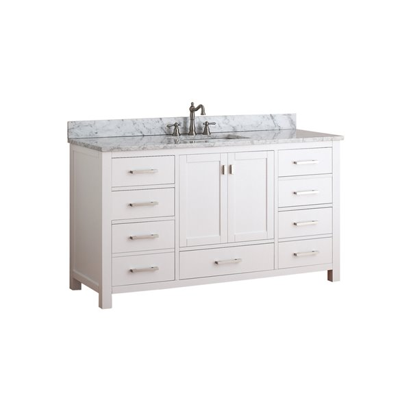 Admirable Modero 61 In Single Sink White Bathroom Vanity With Marble Top Download Free Architecture Designs Pushbritishbridgeorg