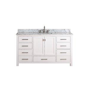 Modero 61-in Single Sink White Bathroom Vanity with Marble Top