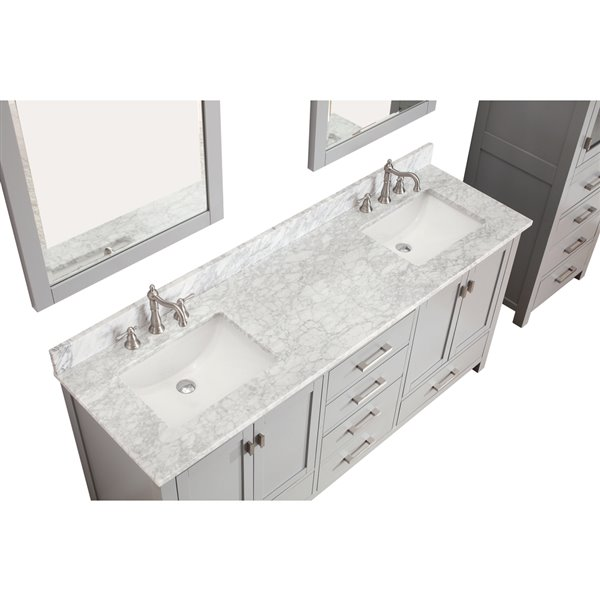 Avanity Modero 73-in Double Sink Gray Bathroom Vanity with Marble Top