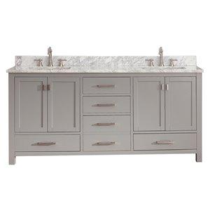 Modero 73-in Double Sink Gray Bathroom Vanity with Marble Top
