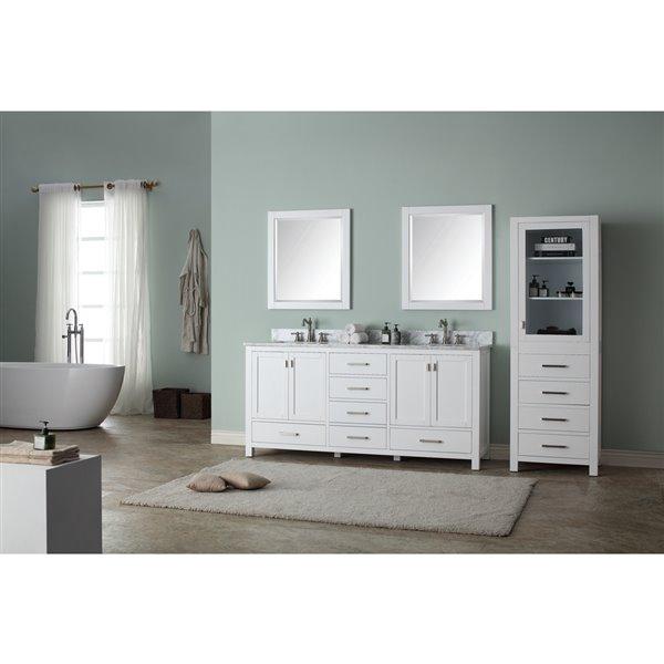 Avanity Modero 73-in Double Sink White Bathroom Vanity with Marble Top