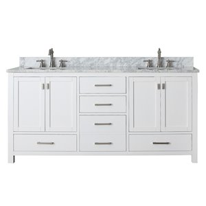 Modero 73-in Double Sink White Bathroom Vanity with Marble Top