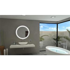 """Miroir à éclairage DEL intégré, 32""""x 32"""", 6000 K, 24 V, rond"""