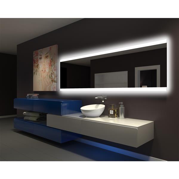 """Miroir rectangulaire PARIS rétroéclairé    96""""x28"""" , 3000K"""