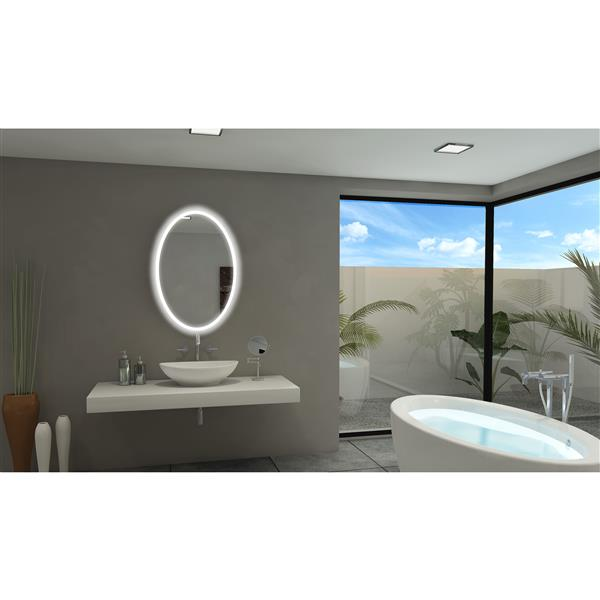 Paris Mirror Backlit 24-in x 36-in 6000K Oval Mirror