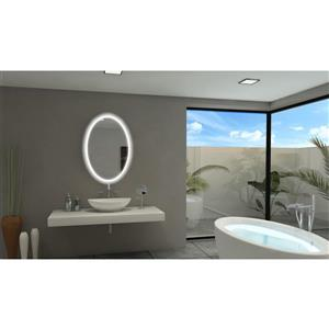 Paris Backlit 24-in x 36-in 6000K Oval Mirror