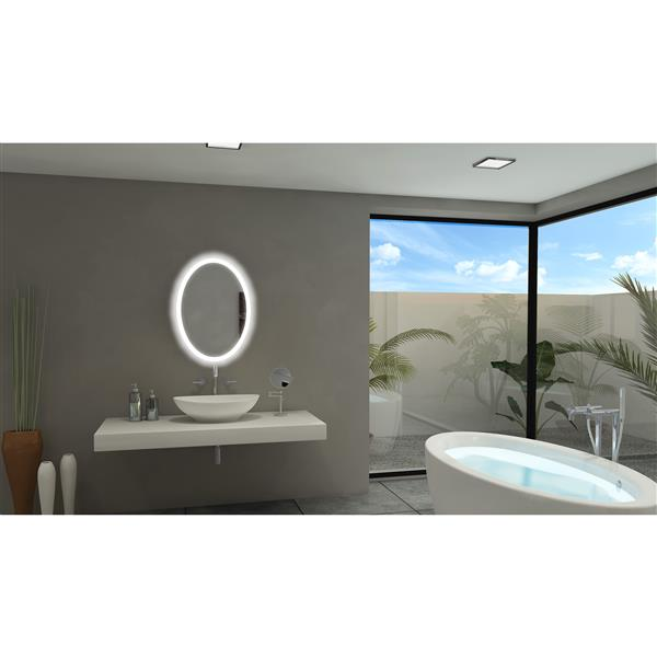Paris Mirror Backlit 20-in x 28-in 6000K Oval Mirror