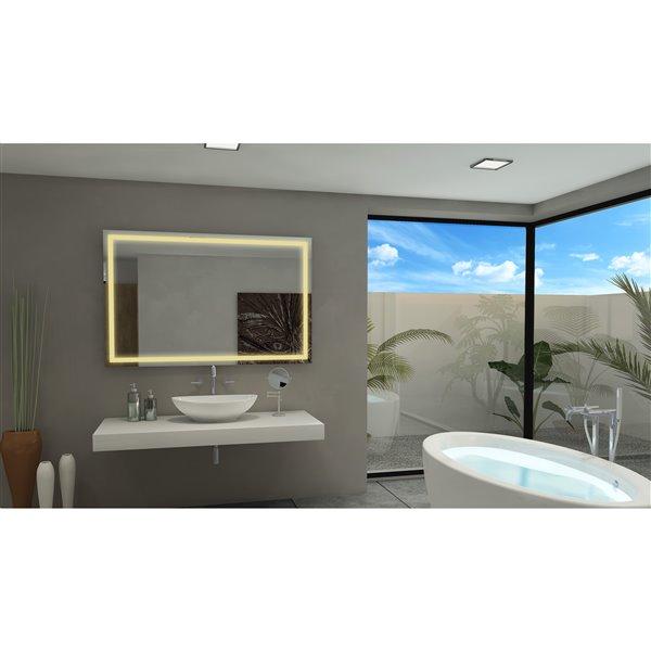 """Miroir à éclairage DEL intégré, 55""""x 36"""", 3000K, 24V"""
