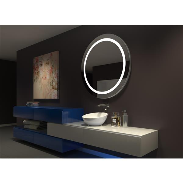 """Miroir à éclairage DEL intégré, 44""""x 44"""", 3000 K, 24 V, rond"""