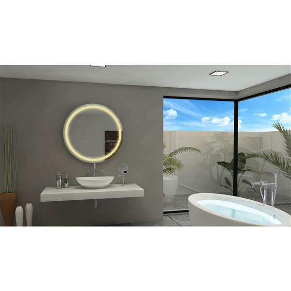 Paris Mirror 36-in x 36-in 3000 K 24 V LED Lighting Round Mirror