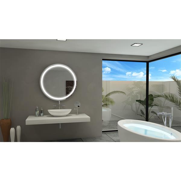 Paris Mirror 36-in x 36-in 6000 K 24 V LED Lighting Round Mirror