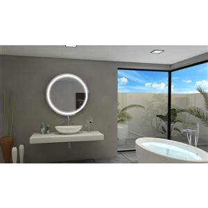 Paris Mirror 36-in x 36-in 6000 K 24 V LED Lighting Round Mirror