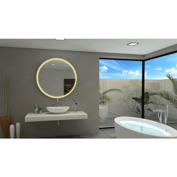 Paris Mirror 40-in x 40-in 3000K 24V LED Lighting Mirror