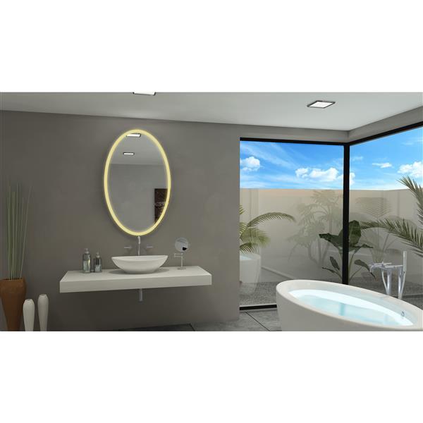"""Miroir à éclairage DEL intégré, 30""""x 48"""", 6000 K, 24V, ovale"""