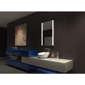 """Miroir à éclairage DEL intégré, 24"""" x 36"""", 6000 K , 24 V"""